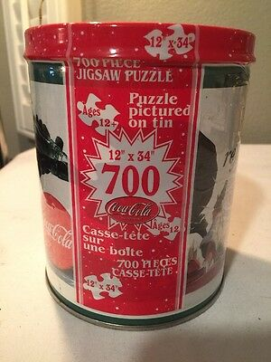 Coca Cola Jigsaw Puzzle 700 Piece 12 inch X 34 inch Puzzle Pictured On Tin