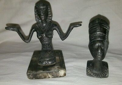 A  Pair Of Old Egyptian Metal Figurines,