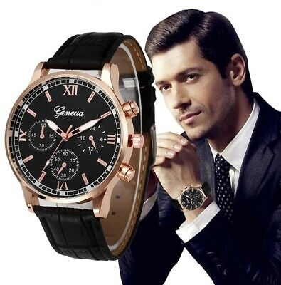 High Quality watch men Retro Design Leather Band Analog Alloy Quartz Wrist Watch