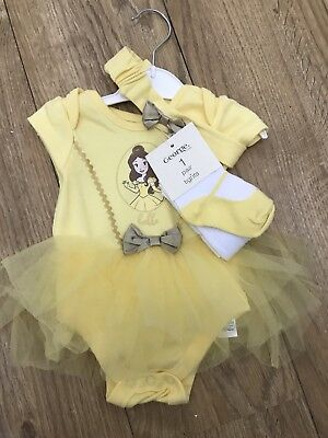 George Asda Disney Baby Belle 3-6months Vest Headband And Tights