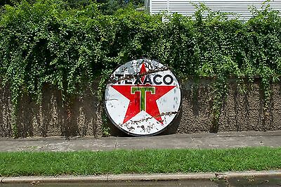72 Inch Large Porcelain Texaco Sign Double Sided 6 Foot Authentic