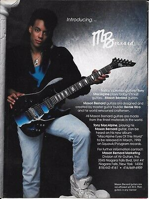 Mason Bernard Guitars - Tony Macalpine - 1990 Print Advertisement