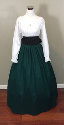 Green Civil War Victorian Renaissance Southern Belle Colonial Dress Gown Costume