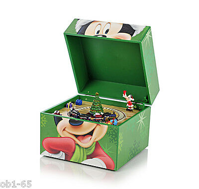 Disney Mickey Mouse Pom Pom Wind-up Music Box moving mini train Christmas tree