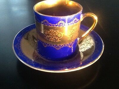 VTG Japanese KPM Cobalt Blue & Gold Gilded Mini China Tea Cup & Saucer