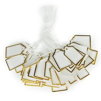 Approx. 500PCs Strung Jewelry Price Labels Tags 25*15mm---White and Gold H9V3