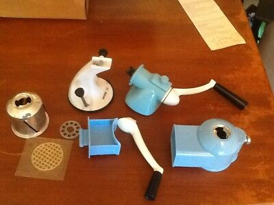 Vintage blue spong 702 mincer slicer grater kitchen set for Spong kitchen set 702