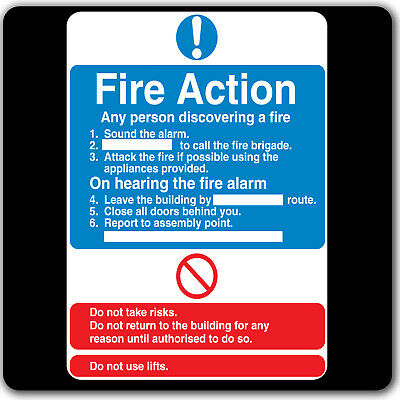 FIRE Action Sign Assembly Point Health and Safety Emergency Label Sticker