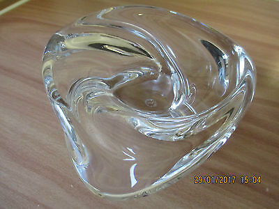 St Louis crystal  Caravelle signed triangular ashtray trinket dish