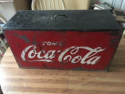 Vintage Antique 1940s Tome Mexico Coca-Cola Metal Cooler Raised Letters Rare !!!