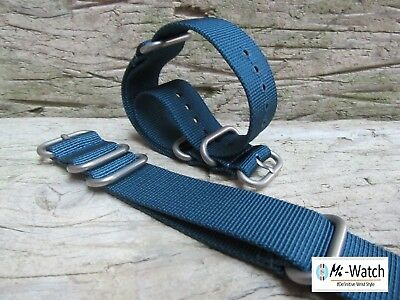 ZULU Nato Blue G10 Nylon Divers, MOD, Army Watch Strap 18,20, 22,24mm