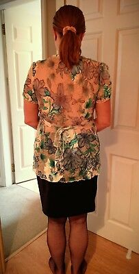 White and blue flower semi sheer top size 14 /16