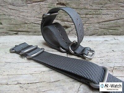 ZULU Nato Grey G10 Nylon Divers, MOD, Military Army Watch Strap 18,20, 22,24mm