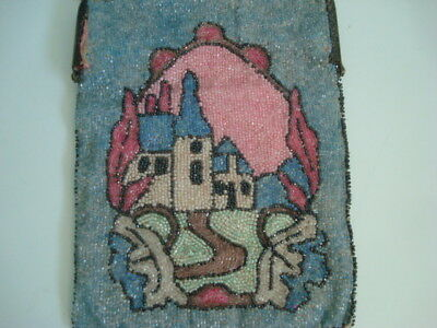 Wonderful Antique BEADED PURSE Victorian Village Houses VERY NICE w/Orig Mirror