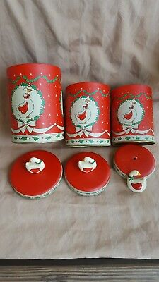 3 Stackable Holiday Christmas Goose Tin Canisters Red Vintage HIMARK