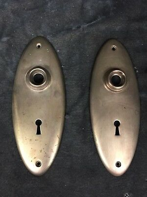 Set Of 2 Vintage Antique Matching Oval Brass Door Knob Backplate Plate Covers