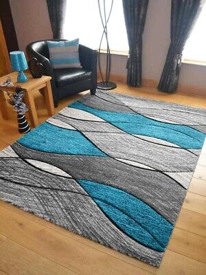 New Soft Quality Lt Silver Grey Teal Blue Floor Mat Rugs Long Hall Runners Cheap