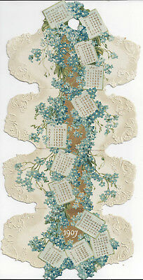 1907 Folding Embossed Calendar,blue And White Flowers,gold And White Background
