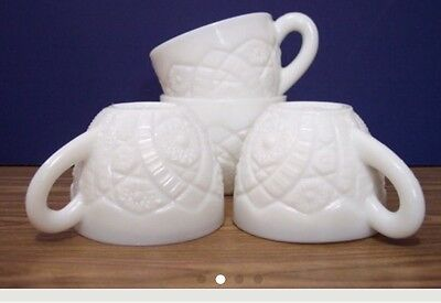 Set Of Four McKee Milk Glass Cups