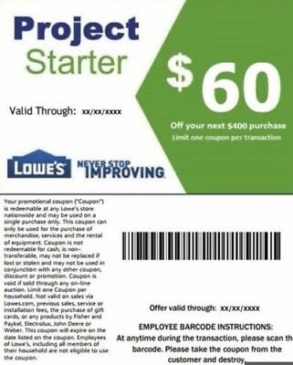 One (1x) Lowes $60 Off $400 Coupon (Instore & Online) Exp10/30 lnstant Delivery
