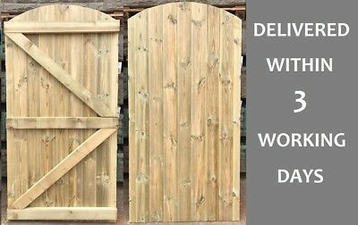 Custom Made To Measure Wooden Garden Gate/Tongue & Groove Treated Arch Top 1.8m