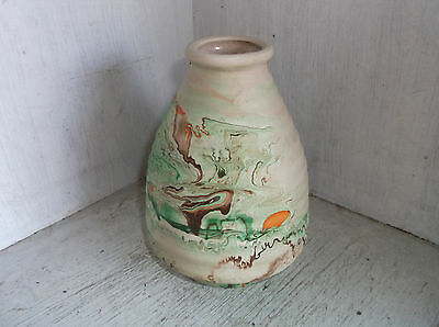 "NEMADJI Pottery USA Ribbed Beehive Vase 5 3/4"" Greens Orange Brown"
