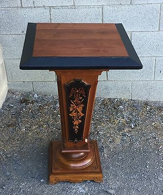 19th c. RENAISSANCE INLAID WALNUT PEDESTAL
