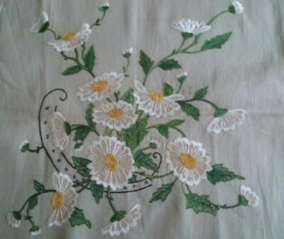Antique Hand Embroidered Pillow Top ~ Crewel Embroidery ~ Floral