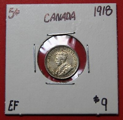 1918 Canada Silver Five 5 Cent Coin 8630 - $9 EF