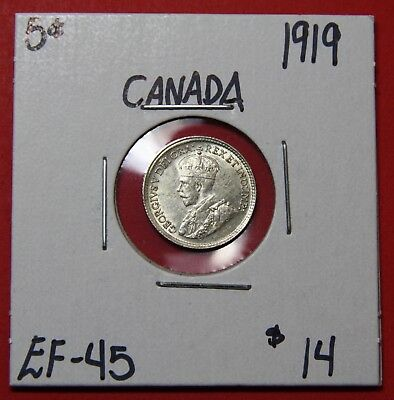 1919 Canada Silver Five 5 Cent Coin 6011 - EF/AU
