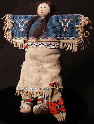 """LARGE 12 """" c1930 Sioux Beaded Hide Doll  ,beaded high top moccasins / belt/ yoke"""