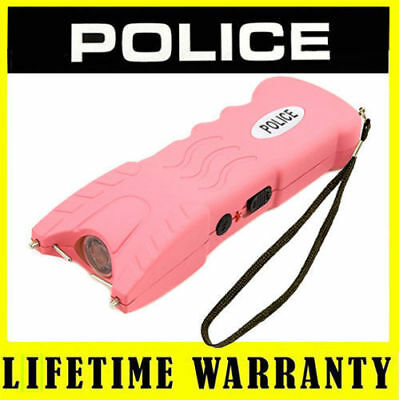 POLICE Stun Gun 916 Pink 58 Billion Rechargeable With Safety Pin LED Flashlight