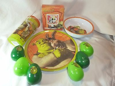 Shrek Dinnerware Set Plate Bowl Crazy Straw Eggs Night Light  FREE SHIPPING US