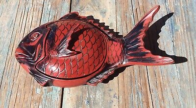 Antique Kamakura Bori Black & Red Lacquered Wood Koi Fish Box Bowl W/ Lid