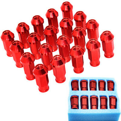 20 Pcs Red M12 x P1.5MM Aluminum Wheel Tuner Lug Nuts Kit Set For Acura Toyota