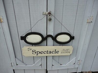 Vintage Wood Sign Spectacle Shoppe Shop Glasses Optometrist Store advertising