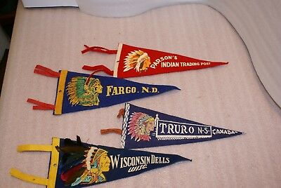 Lot of 4 Vintage Felt Pennant Canada Travel Indian Chief Head Native American