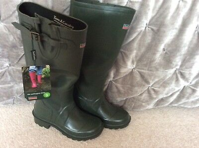 Bnwt, Town & Country Wellington Boots- Uk Size 5/38 -Green