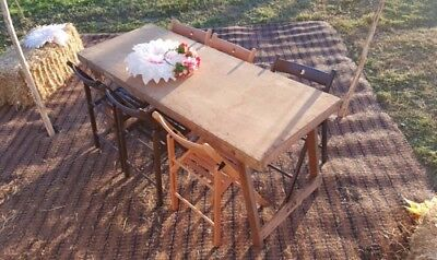 Wooden Trestle Tables - FOR HIRE - 20 Vintage Style  & Folding Wooden Chairs