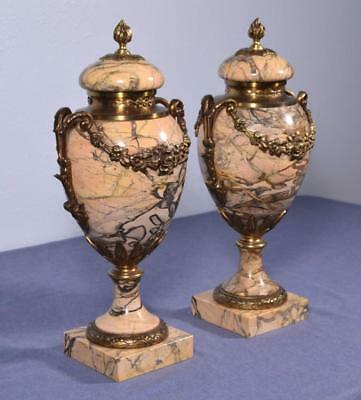 "*17"" XXL Pair of Antique French Louis XVI Bronze & Marble Urns/Vases"