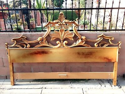 Vintage Hollywood Regency Gilded Rococo Style Cast Metal King Size Headboard