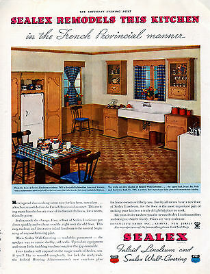 1935 Sealex Linoleum & Wall Covering Ad -French Provincial----t859