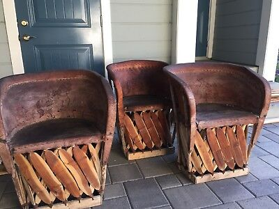 Vintage Mexican Leather Chairs Equipales
