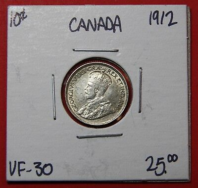 1912 Canada 10 Cent Silver Coin Dime 2383 - VF/EF