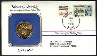 US 1983 FDC With Official Mint Presidential 24kt Gold Electroplated Medal # 29th