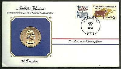 US 1995 FDC With Official Mint Presidential 24kt Gold Electroplated Medal # 17th