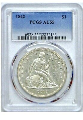 1842 P Seated Liberty Silver Dollar $1 PCGS AU55 Great Type I 1 Coin!