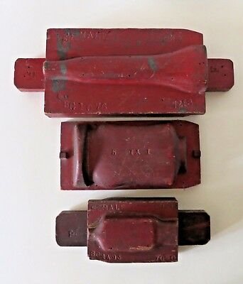 Three Industrial Wall Hanging Vintage Wood Molds Painted Red