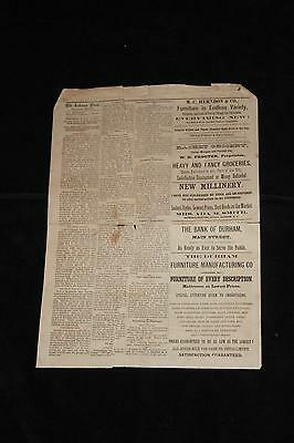 Jan 12 1887 The Tobacco Plant Raleigh NC TURLINGTON MURDER ON MAP Newspaper Page