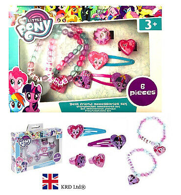 6Pcs My Little Pony ACCESSORY SET Kids Jewellery Bracelet Ring Hair Clips Gift